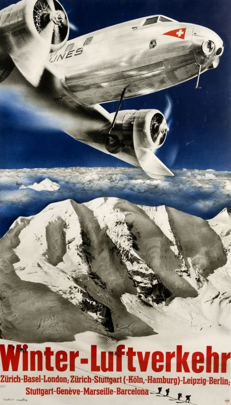 Douglas DC-2 Airplane flies over mountains; blue, black, white, red